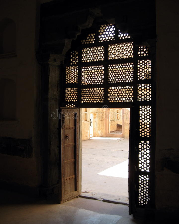 India architektury Łukowaty drzwi fotografia stock