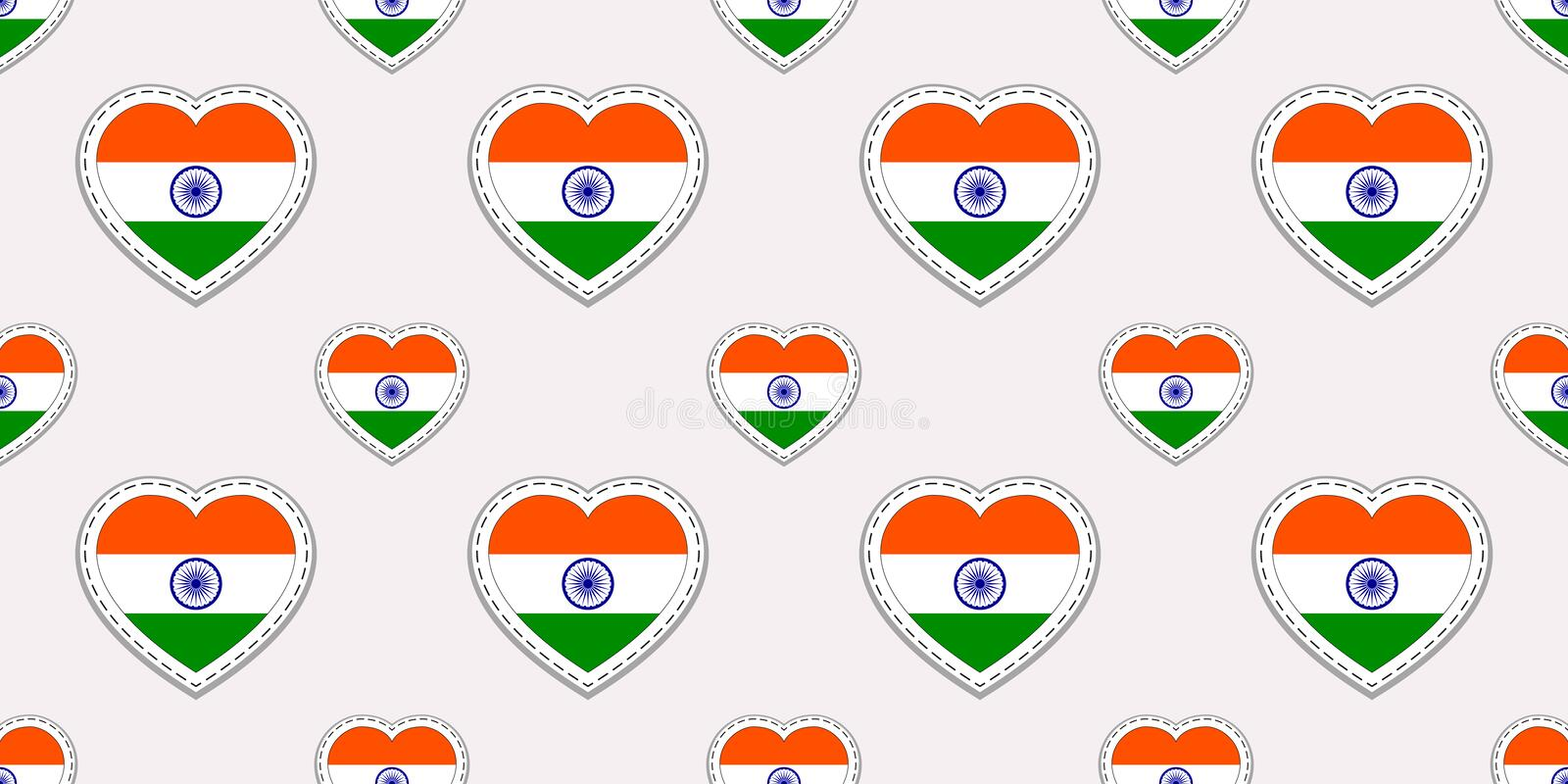 India background. Indian flag seamless pattern. Vector stickers.Love hearts symbols. Good choice for sports pages, travelling, lan royalty free illustration