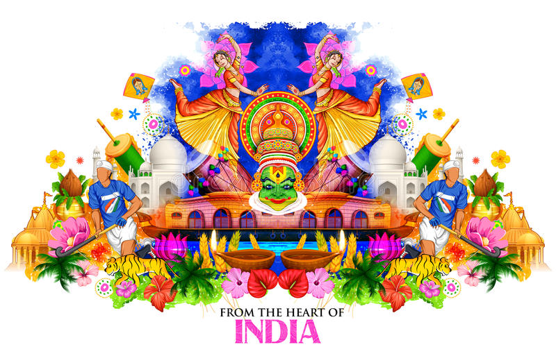 India background showing its culture and diversity stock illustration