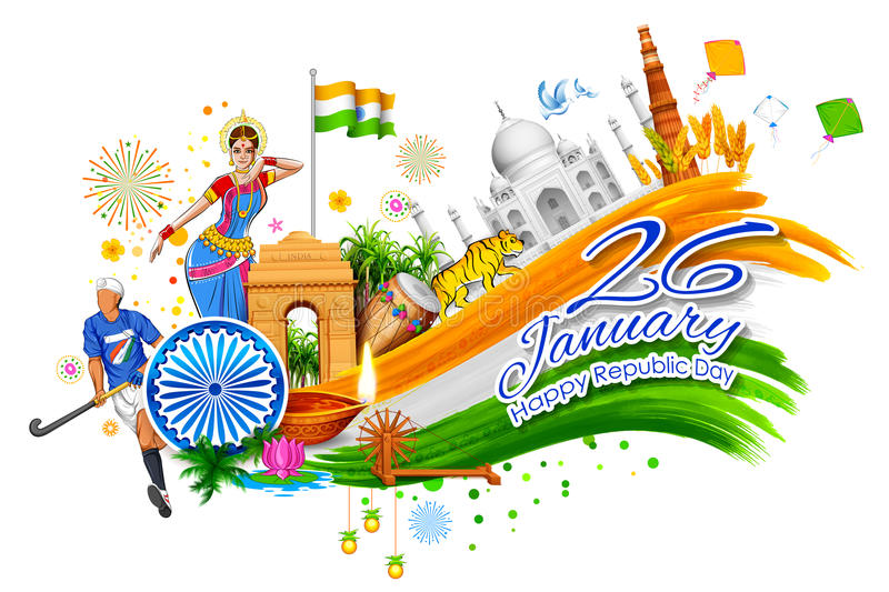 India background showing its incredible culture and diversity with monument, dance festival stock illustration