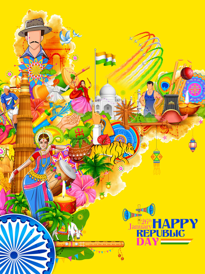 India background showing its incredible culture and diversity with monument, dance festival vector illustration