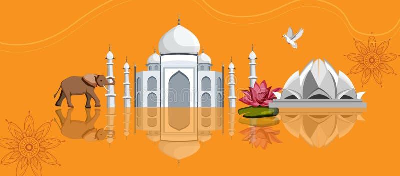 India background with Taj Mahal, Lotus Temple and elephant. royalty free illustration