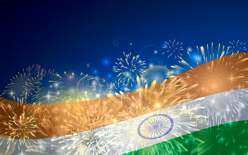 India background in tricolor and Ashoka Chakra with festive fireworks bursts. Concept of Indian Republic Day vector illustration