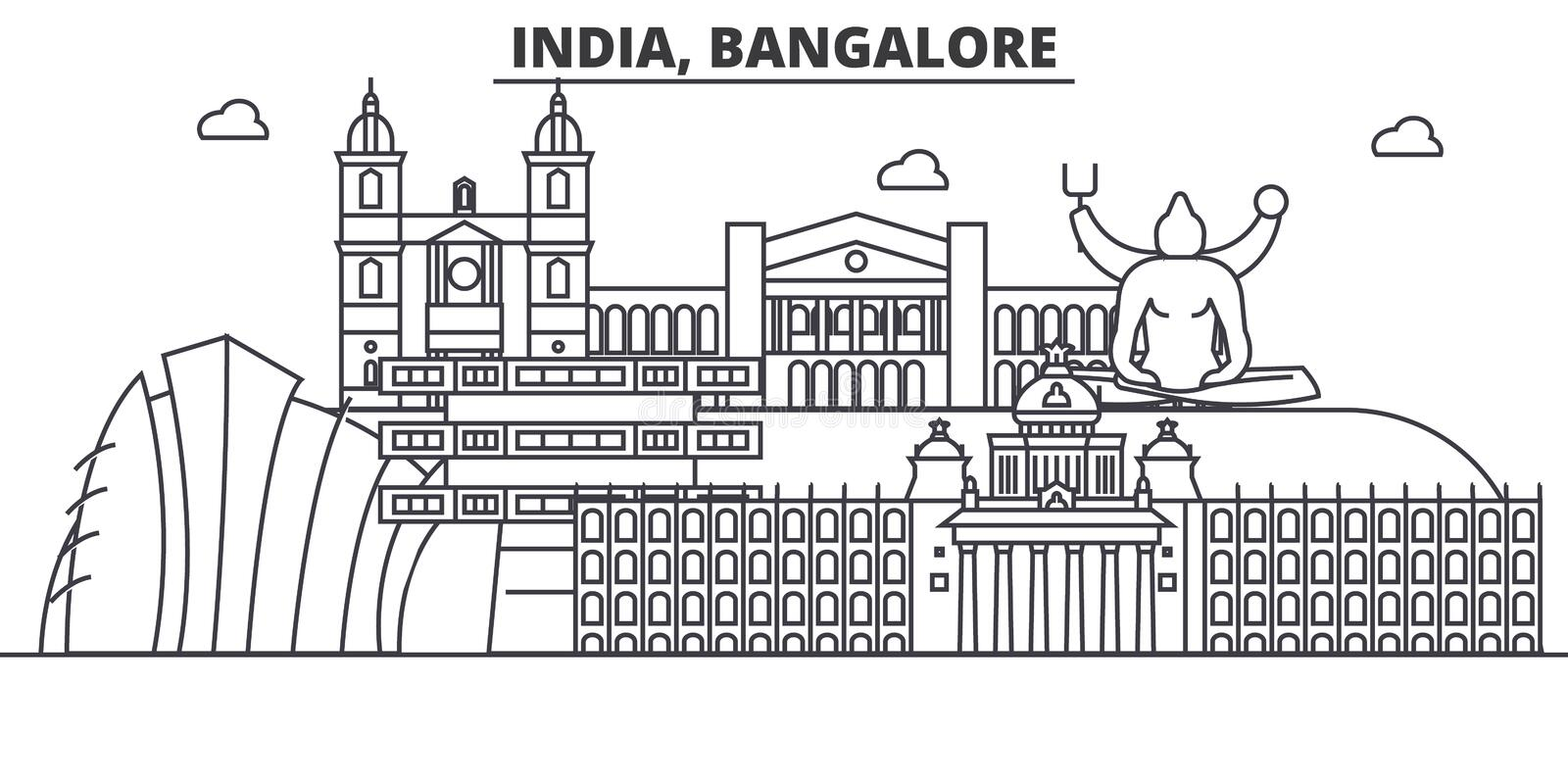 India, Bangalore architecture line skyline illustration. Linear vector cityscape with famous landmarks, city sights. Design icons. Editable strokes vector illustration