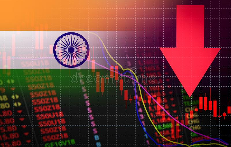 India Bombay Stock Exchange market crisis red market price down chart fall Business and finance money crisis background red. India Bombay Stock Exchange market royalty free illustration