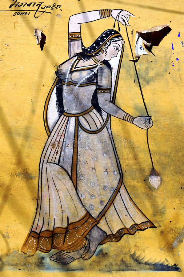 Free India, Bundi, Palace: Painting On A Wall Royalty Free Stock Photos - 4882158