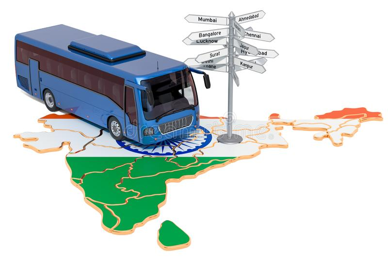 India Bus Tours concept. 3D rendering. Isolated on white background stock illustration