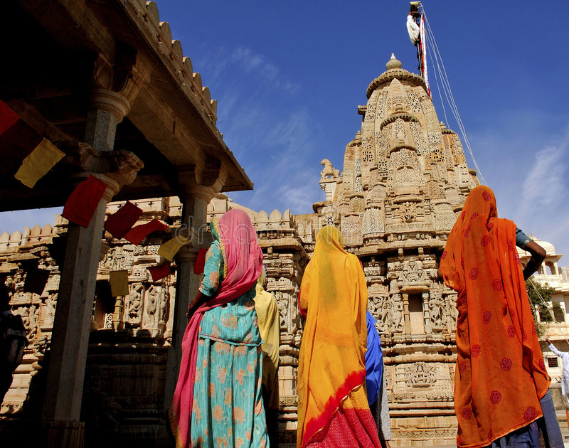 India, Chittorgarh: De ceremonie van Jain stock foto