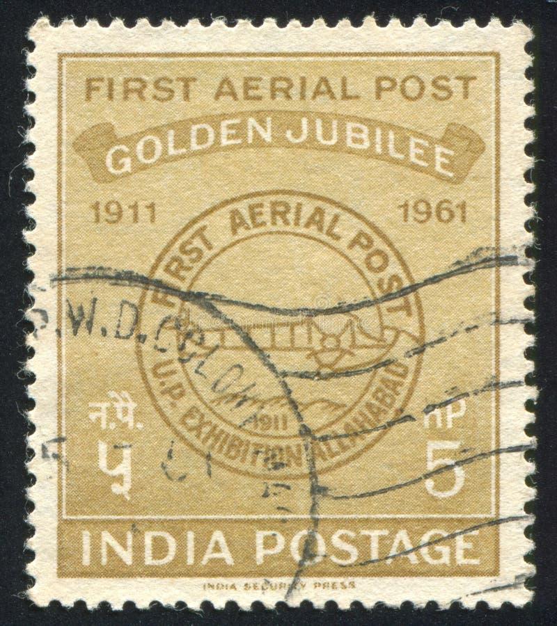First Airmail Postmark. INDIA - CIRCA 1961: stamp printed by India, shows First Airmail Postmark, circa 1961 stock photo