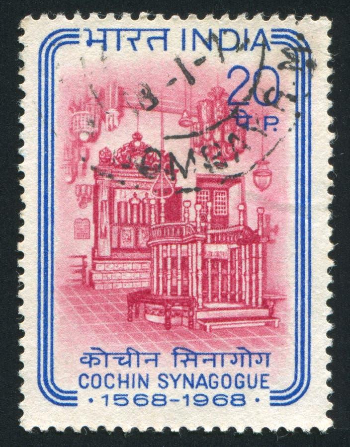 Interior of Cochin Synagogue. INDIA - CIRCA 1968: stamp printed by India, shows Interior of Cochin Synagogue, circa 1968 royalty free stock images