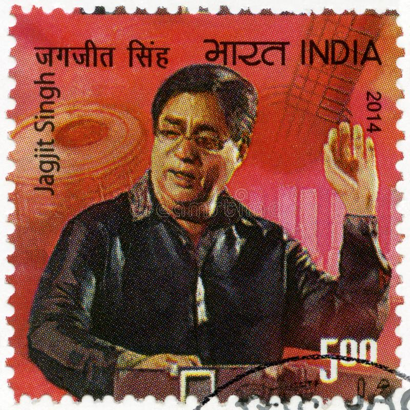 INDIA - 2014: shows portrait of Jagjit Singh Jagmohan Dhiman 1941-2011. INDIA - CIRCA 2014: A stamp printed in India shows portrait of Jagjit Singh Jagmohan royalty free stock image