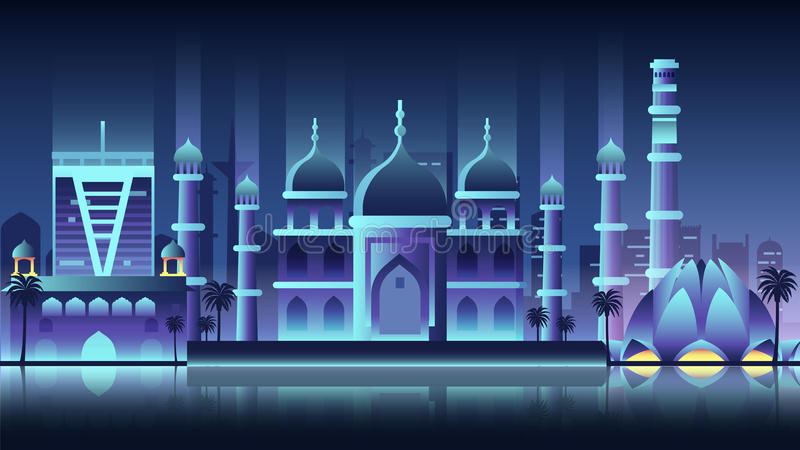 india city night neon style architecture buildings town country