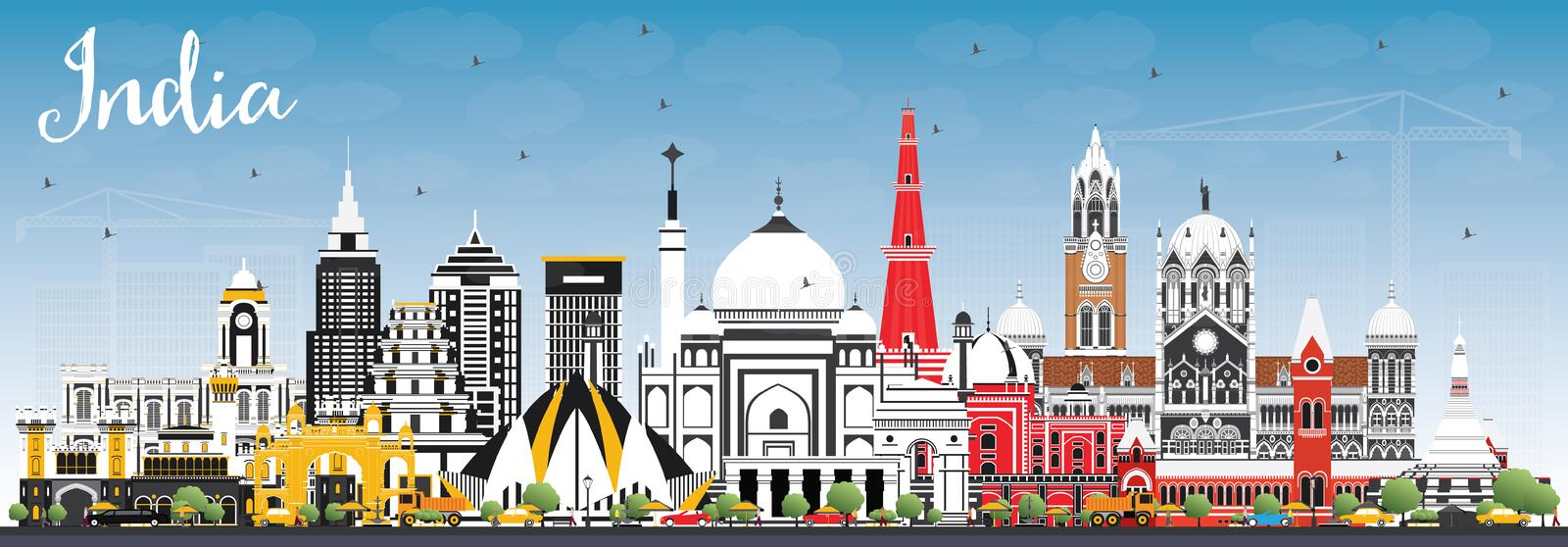 India City Skyline with Color Buildings and Blue Sky. Delhi. Mum. Bai, Bangalore, Chennai. Vector Illustration. Business Travel and Tourism Concept with Historic stock illustration