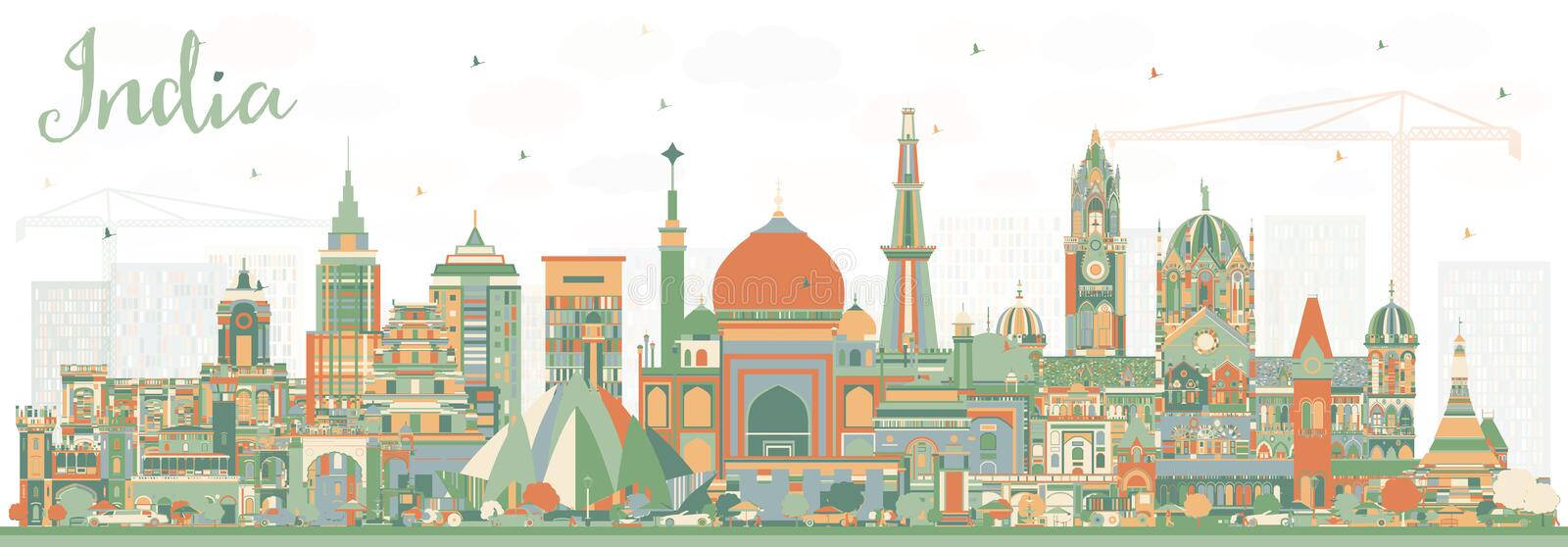 India City Skyline with Color Buildings. Delhi. Mumbai, Bangalore, Chennai. Vector Illustration. Travel and Tourism Concept with Historic Architecture. India royalty free illustration