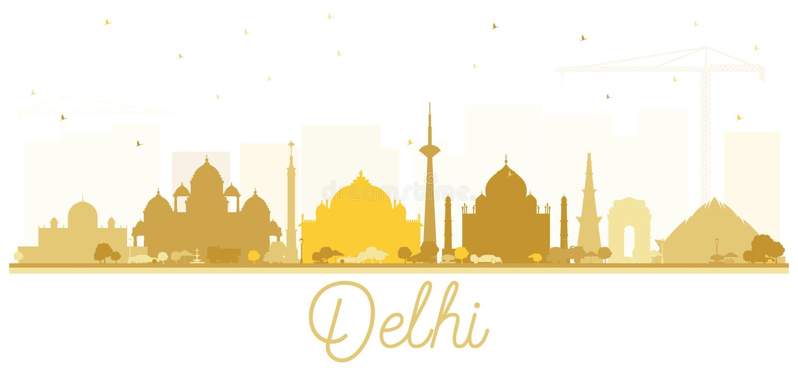 India City Skyline Silhouette with Golden Buildings Isolated on White. Delhi. Hyderabad. Kolkata. Vector Illustration. Tourism Concept with Historic vector illustration