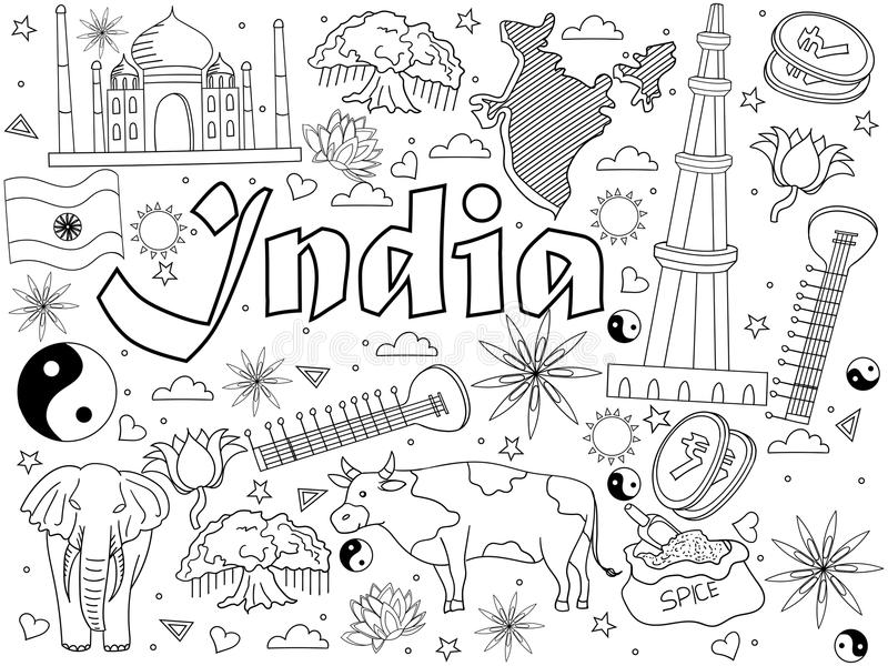 Download India Coloring Book Vector Illustration Stock