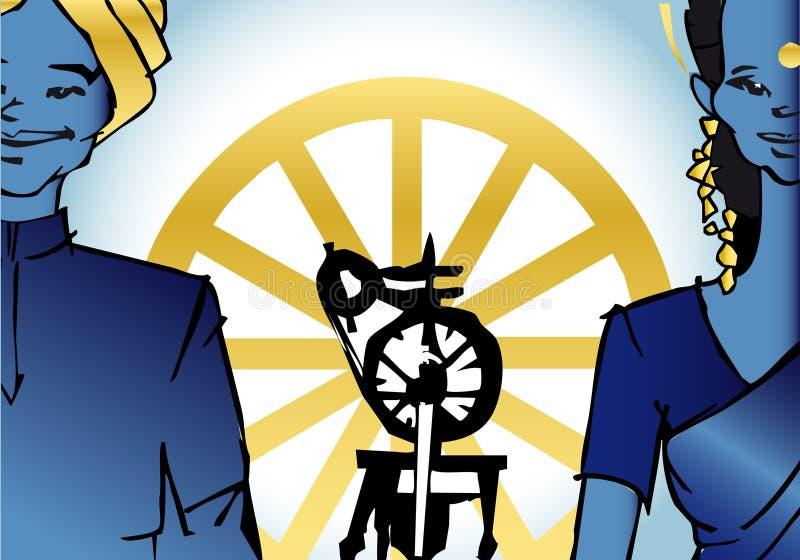 India - com roda de Gandhi ilustração do vetor