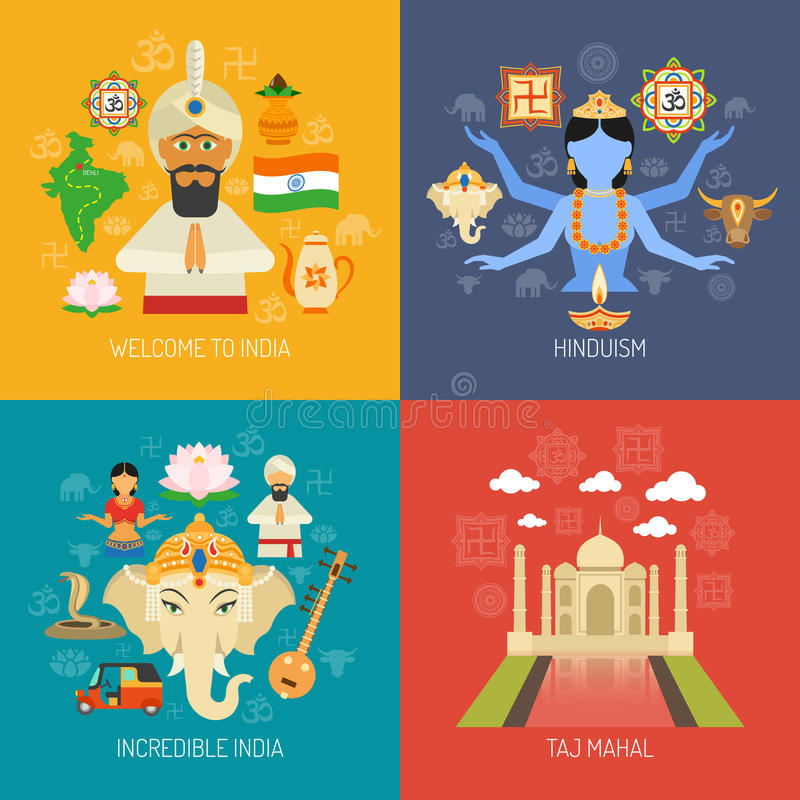 India Concept Set. India design concept set with hinduism religion flat icons vector illustration stock illustration