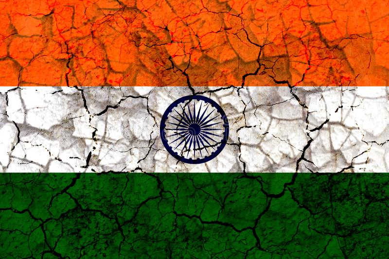 india country flag painted on a cracked grungy wall stock illustration