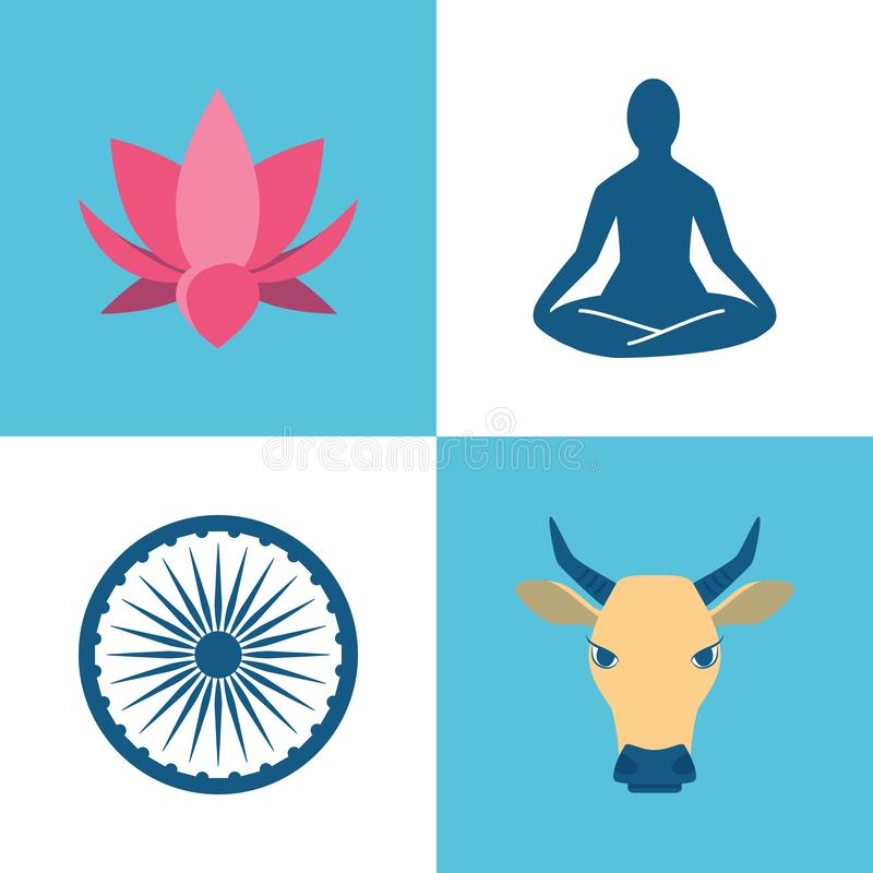 India culture icons set in flat style royalty free illustration