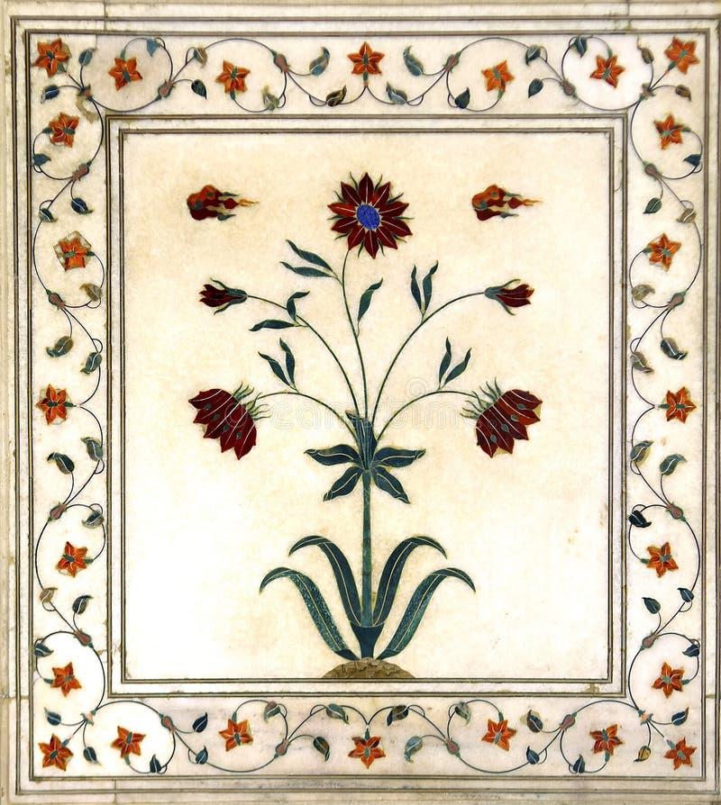 India, Delhi: Detail van marmeren decor stock foto's