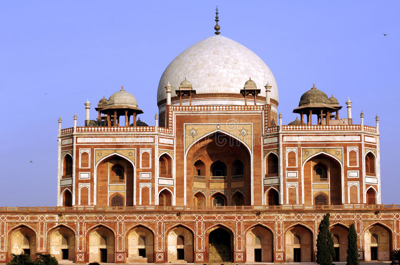 India, Delhi: Humayun tomb. This complex in mughal style date from the 16th century; is listed as a world heritage site stock photography