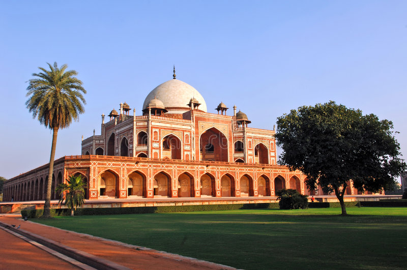 India, Delhi: Humayun tomb. This complex in mughal style date from the 16th century; is listed as a world heritage site royalty free stock photos