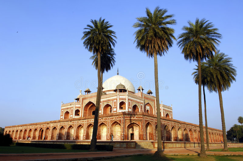 India, Delhi: Humayun tomb. This complex in mughal style date from the 16th century; is listed as a world heritage site royalty free stock photo