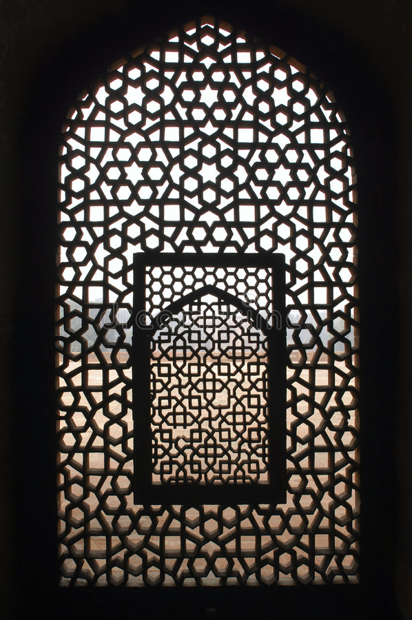 India, Delhi: Humayun tomb. India, Delhi: This window belongs to an ancient building; the tomb complex of Ali Isa Khan niazi which is situated beside the Humayun royalty free stock photos