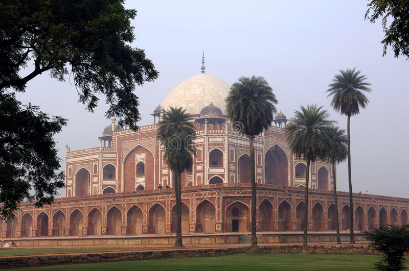 India, Delhi: Humayun tomb. This complex in mughal style date from the 16th century; is listed as a world heritage site royalty free stock photography