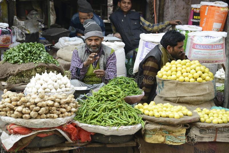 India Delhi market Vegetable seller. With neatly stacked produce stock photo