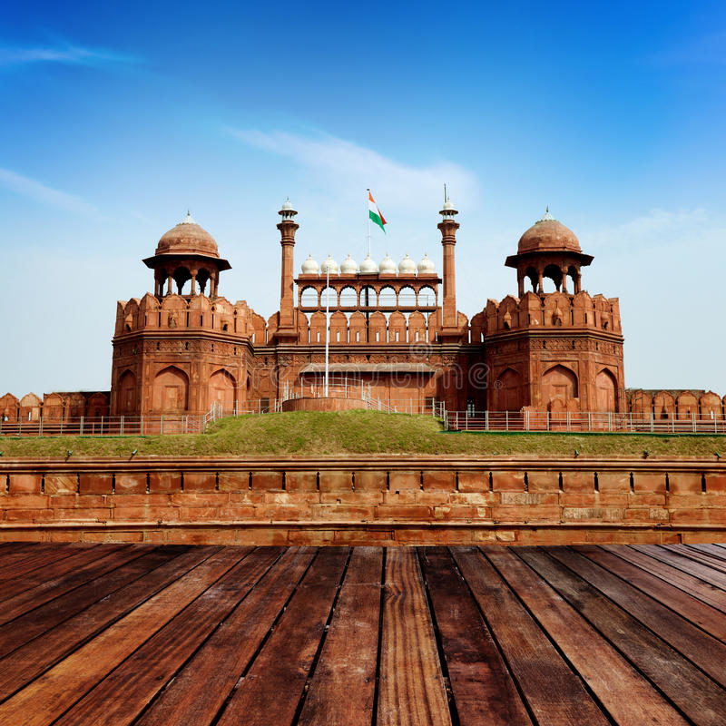 India, Delhi, the Red Fort. Red Fort is a 17th century fort complex constructed by the Mughal emperor Shah Jahan in the walled city of Delhi that served as the stock images