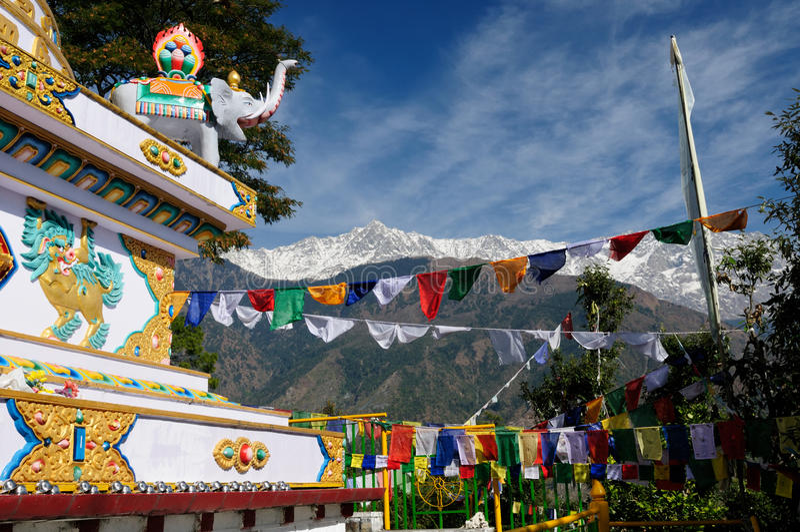 India Dharamsala. Kalaczakra temples in Dharamsala, McLeod Ganj. View no the Himalaya mountains royalty free stock photo