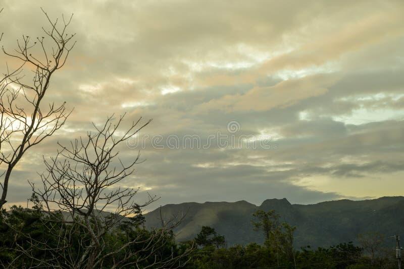 India Dormida mountain range at El Valle de Anton, Panama. Beautiful sunset at the India Dormida mountain range at El Valle de Anton, Panama royalty free stock images