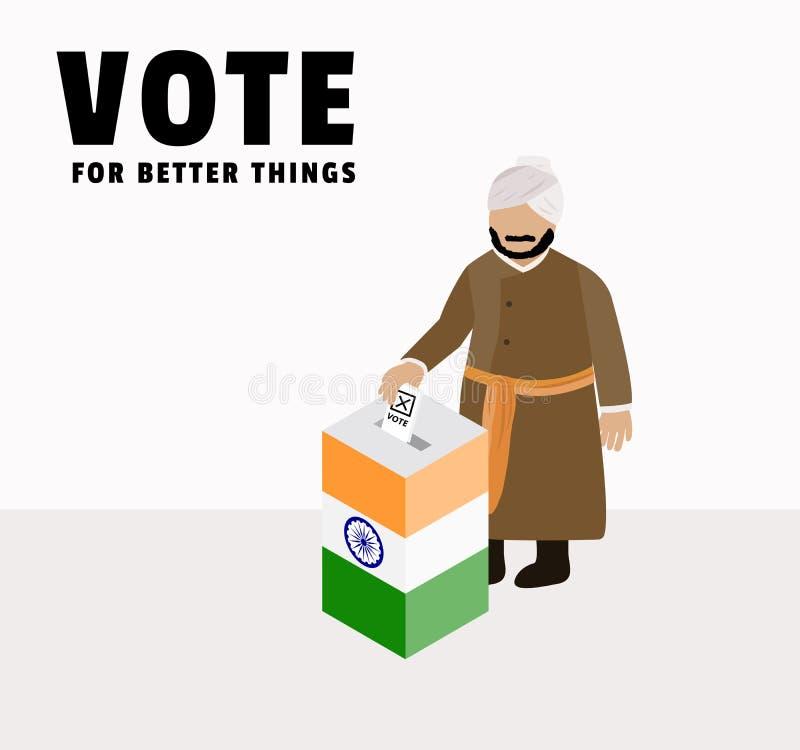 India dzień wyborów kampania dla wybierać rzędu, skrzynka lub, charakter Indiański mężczyzna ca ilustracji
