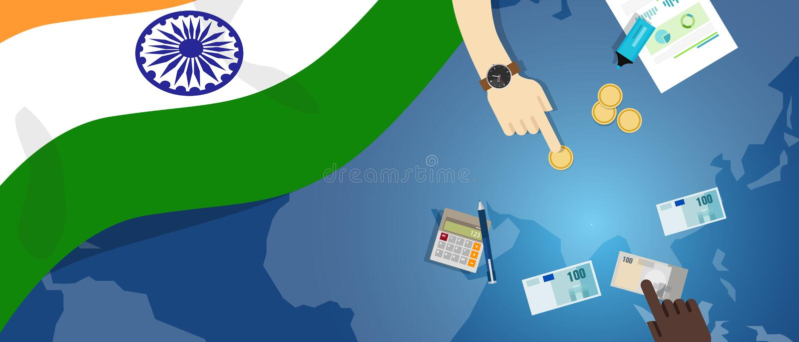 India economy fiscal money trade concept illustration of financial banking budget with flag map and currency. Vector vector illustration