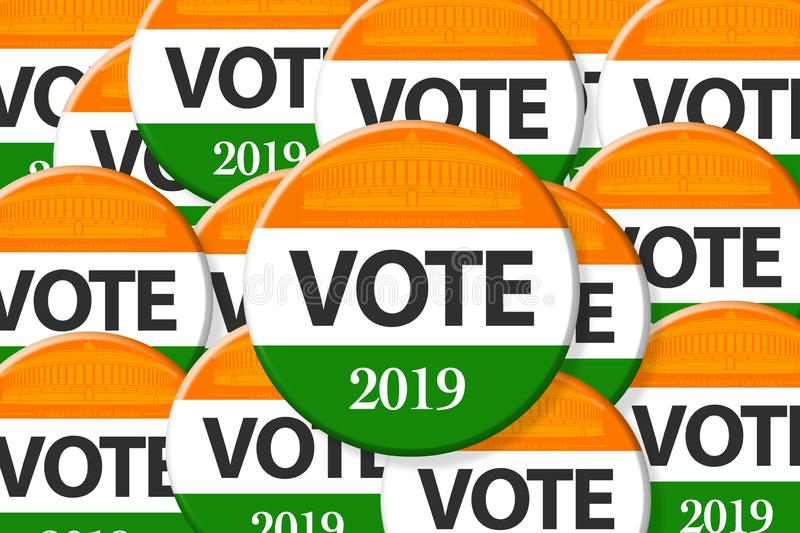 India elections. Vote India on badge, and India flag royalty free illustration