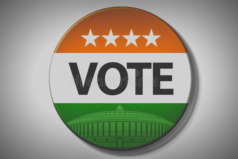 India elections. Vote India on badge, and India flag, stars and Parliament vector illustration