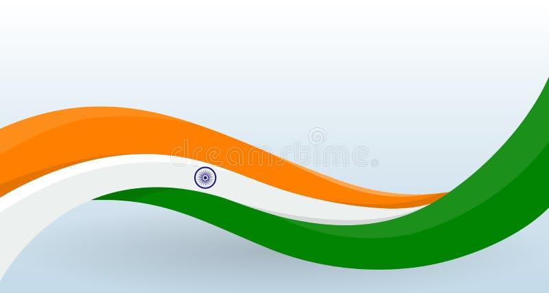 india f?r bakgrundsflaggaillustration nationell white Vinkande ovanlig form Designmall för garnering av reklambladet och kort, af stock illustrationer