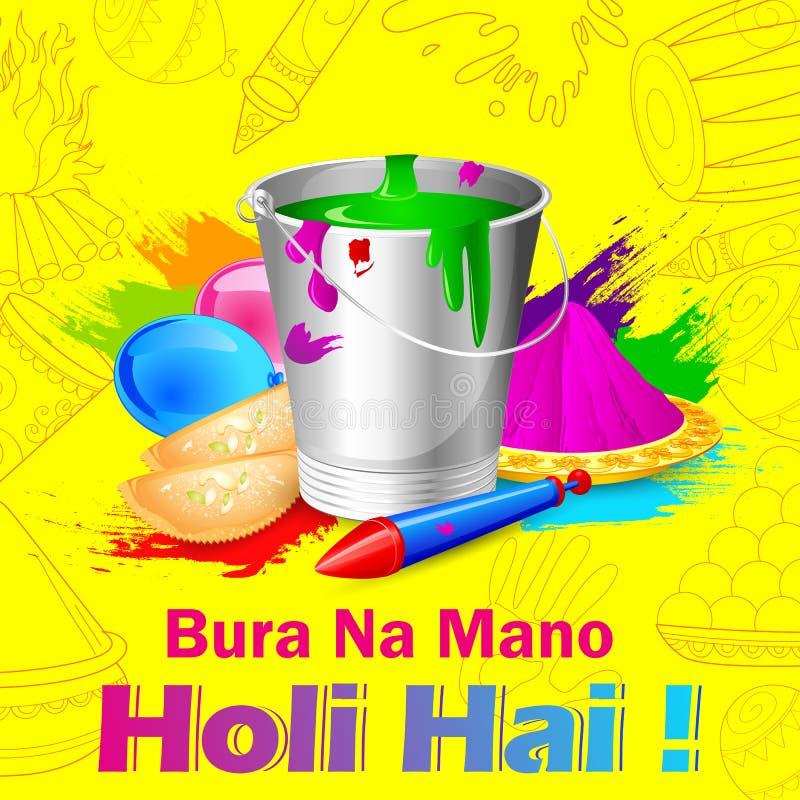 India Festival of Color Happy Holi background stock illustration