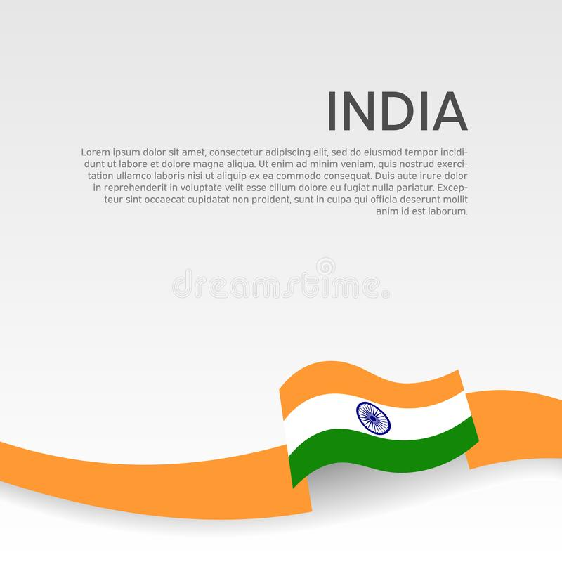 India flag background. Wavy ribbon colors flag of india on white background. National poster. Vector flat design. State indian royalty free illustration