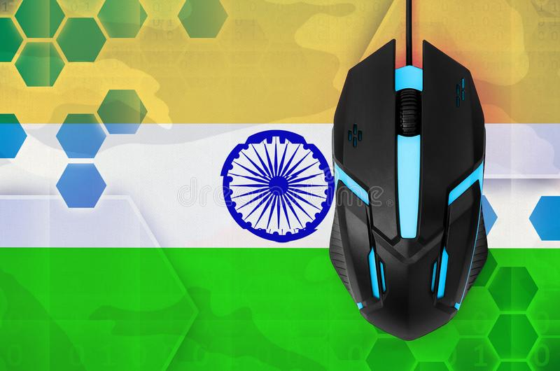 India flag and computer mouse. Concept of country representing e-sports team. India flag and modern backlit computer mouse. Concept of country representing e stock images