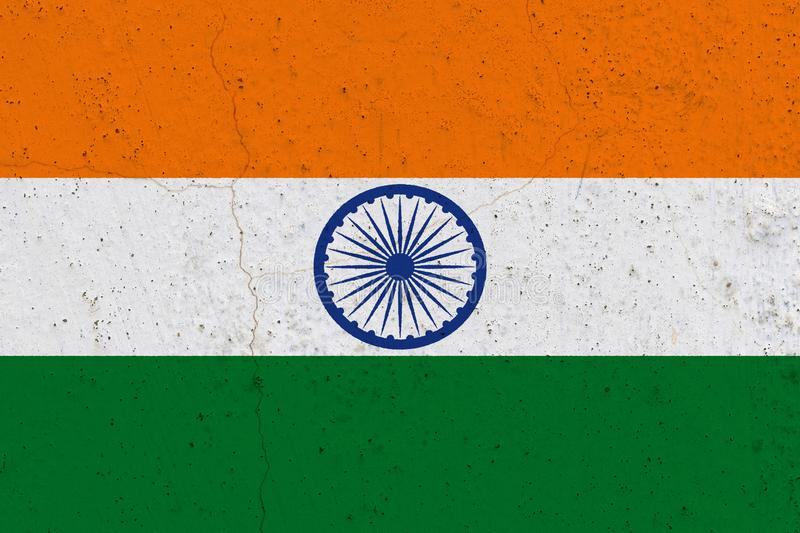 India flag on concrete wall. Patriotic grunge background. National flag of India stock images