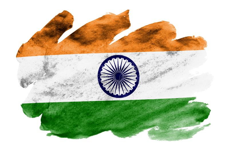 India flag is depicted in liquid watercolor style isolated on white background. Careless paint shading with image of national flag. Independence Day banner stock image