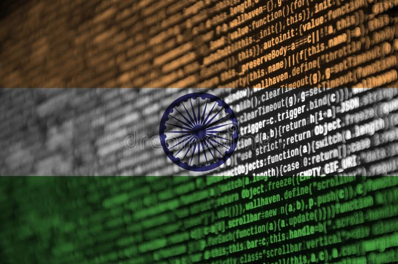 India flag is depicted on the screen with the program code. The concept of modern technology and site development.  vector illustration