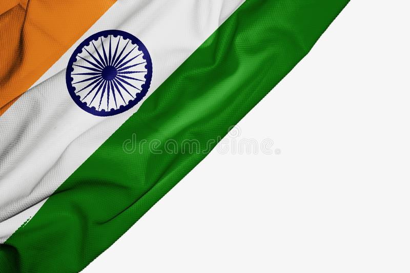 India flag of fabric with copyspace for your text on white background. Indian asia asian banner best capital colorful competition country ensign free freedom stock illustration