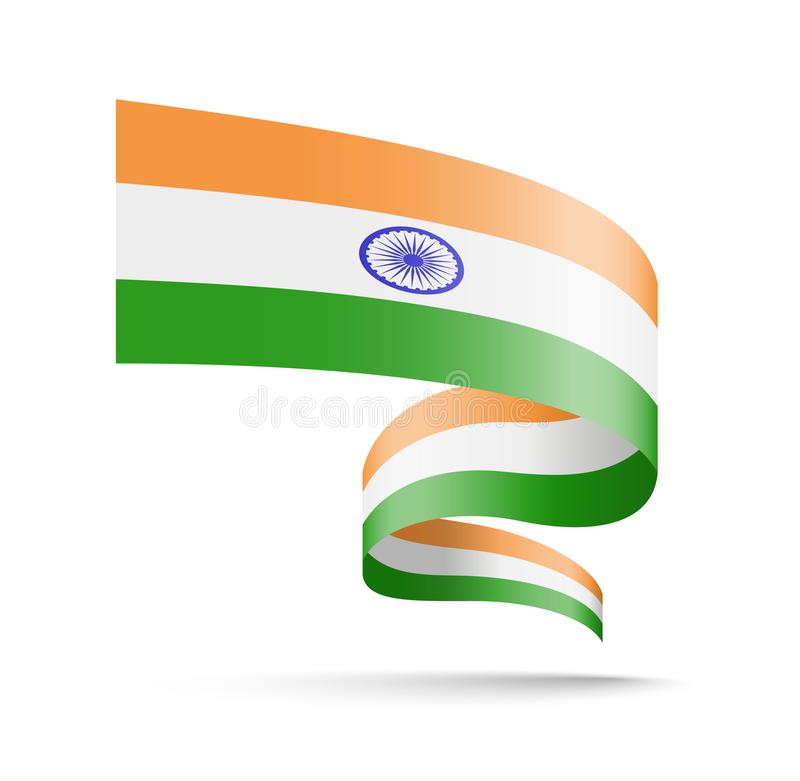 India flag in the form of wave ribbon. vector illustration