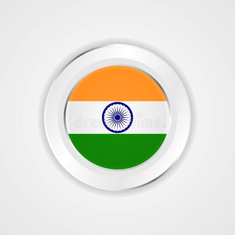 India flag in glossy  icon. vector illustration