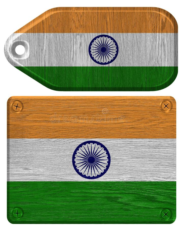 India Flag. Painted on wood tag stock photos