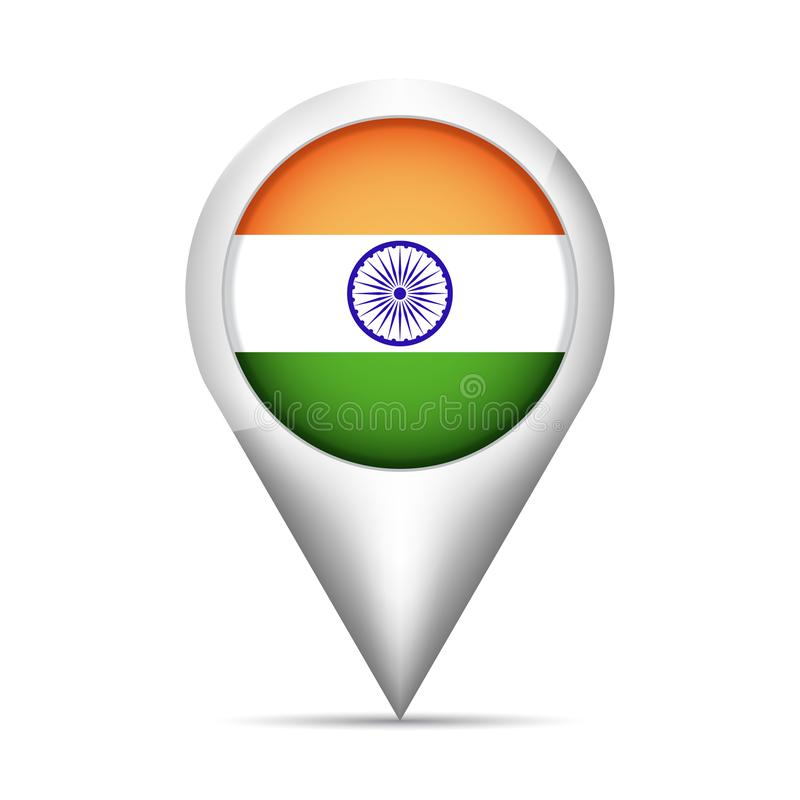 India flag map pointer with shadow. Vector illustration vector illustration